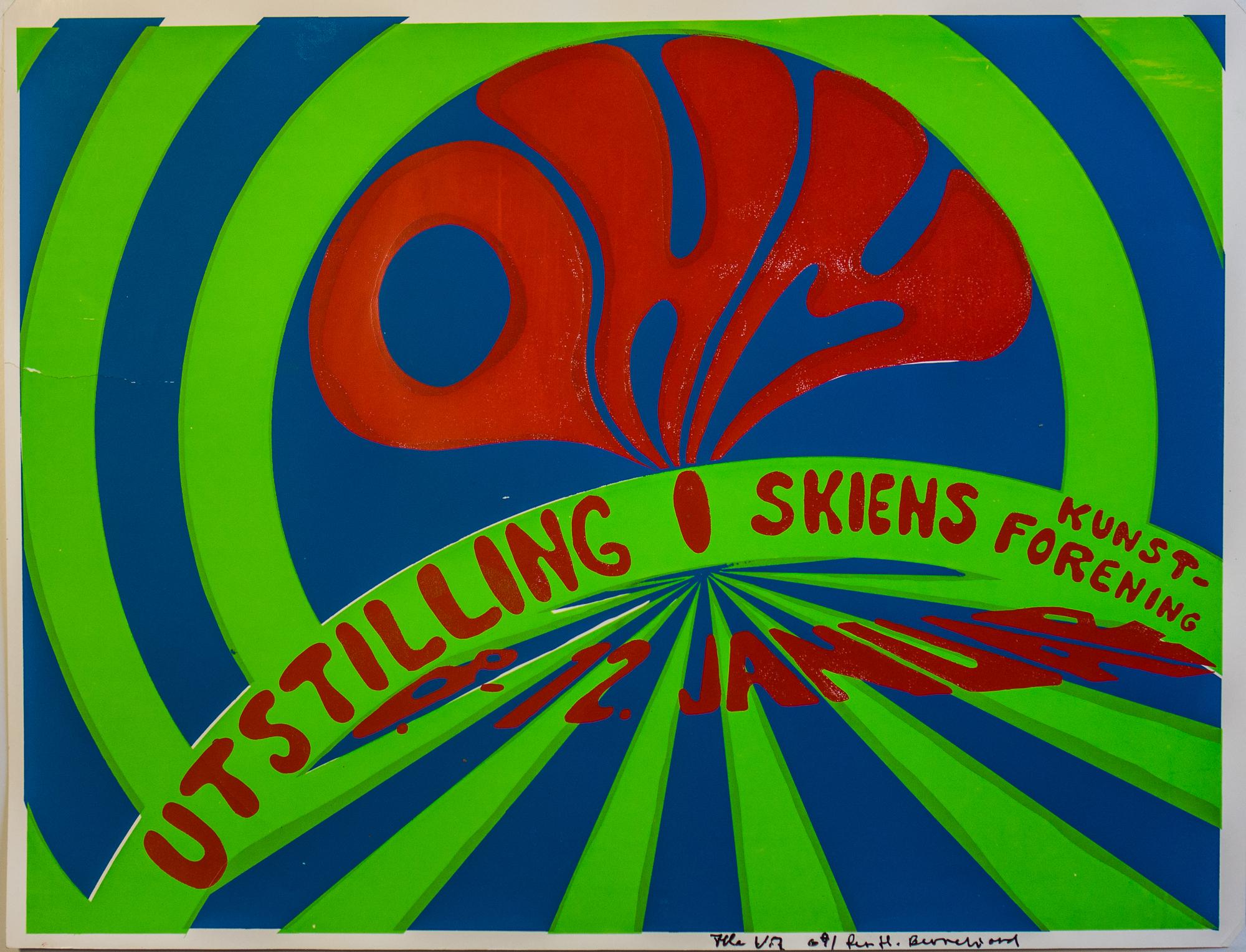 Plakat for OHMs utstilling i Skiens kunstforening, 1969. Plakat: Per Helge Berrefjord og Atle Vik.